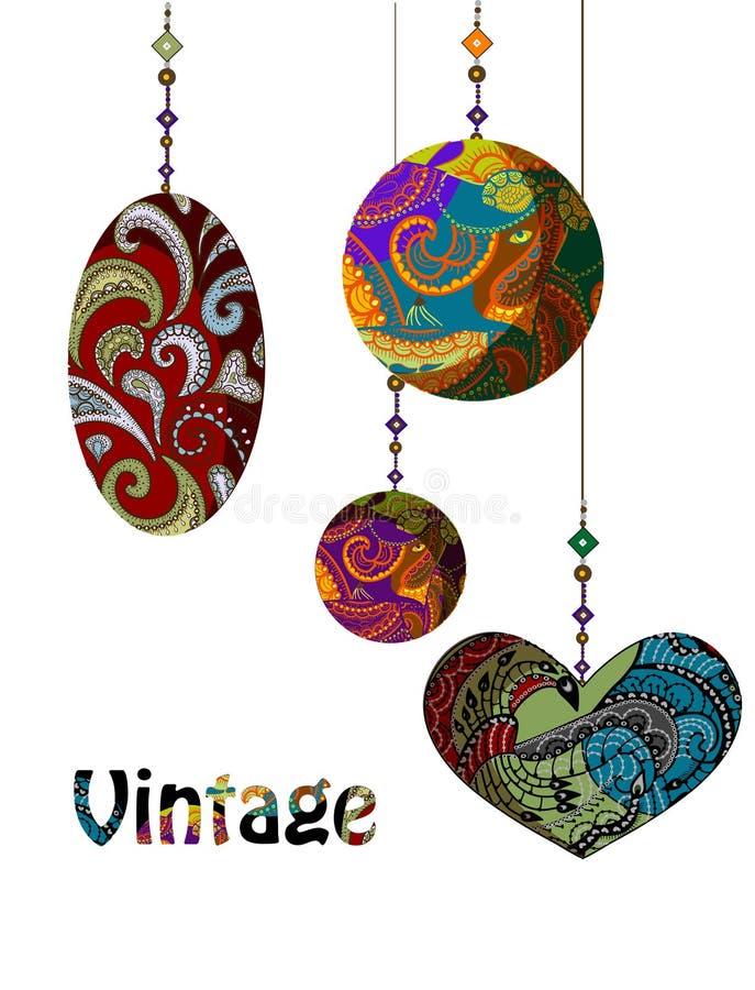 Download Vintage stock vector. Image of ethnics, flower, blue - 16682118