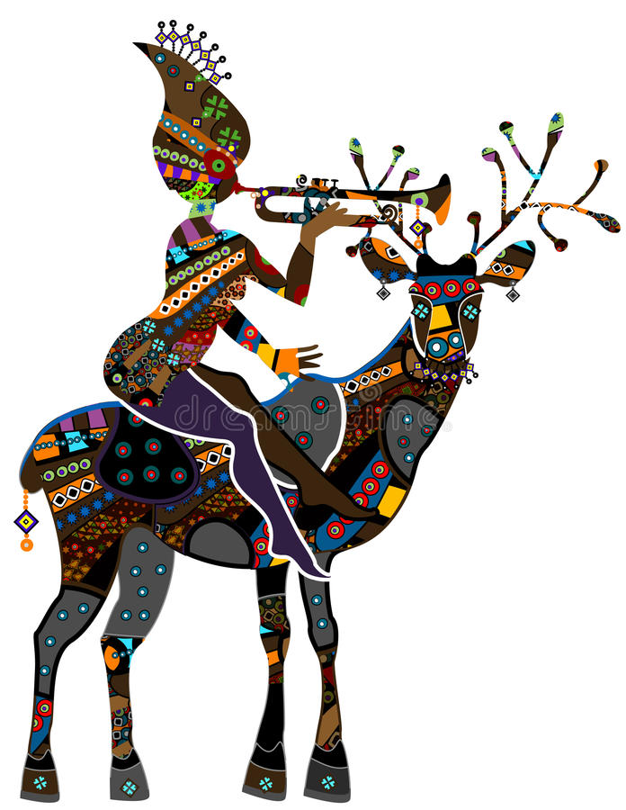 Vintage. Woman sitting on the back of a reindeer in vintage style stock illustration