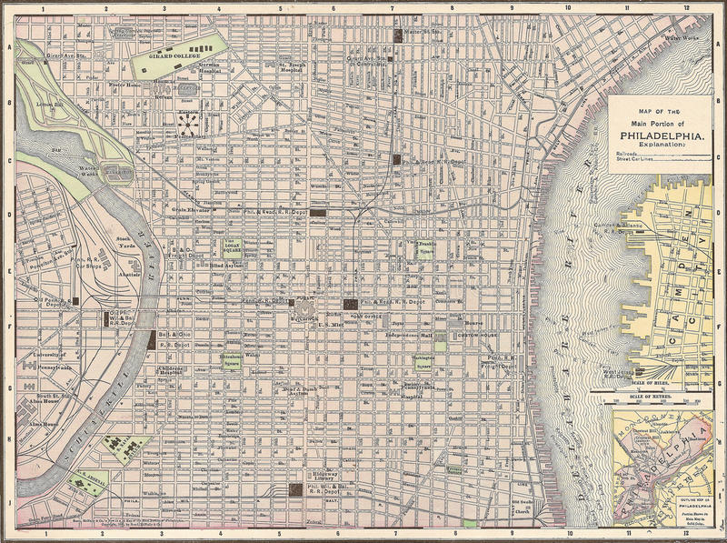 Vintage 1891 map of the city of Philadelphia stock photo