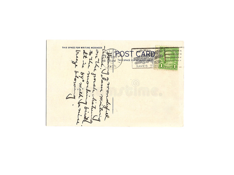 Vintage 1935 Postcard. One vintage 1935 postcard with anonymous message and cancelled one cent stamp. Isolated on white with copy space royalty free stock images