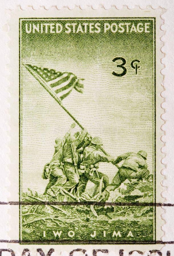 Vintage 1945 Canceled US Postage Stamp Iwo JIma stock photo