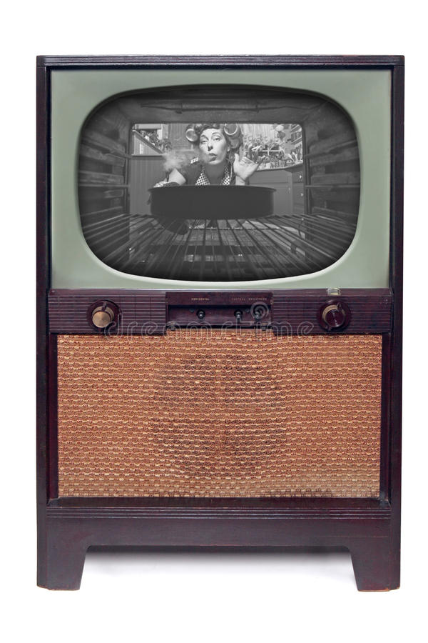 Vintage 1950 TV Television Isolated on White. 1950 Vintage TV Television Isolated on White Background stock image