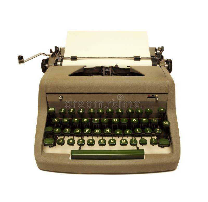 Vintage 1950s typewriter on white. Vintage 1950s portable typewriter on white background royalty free stock image