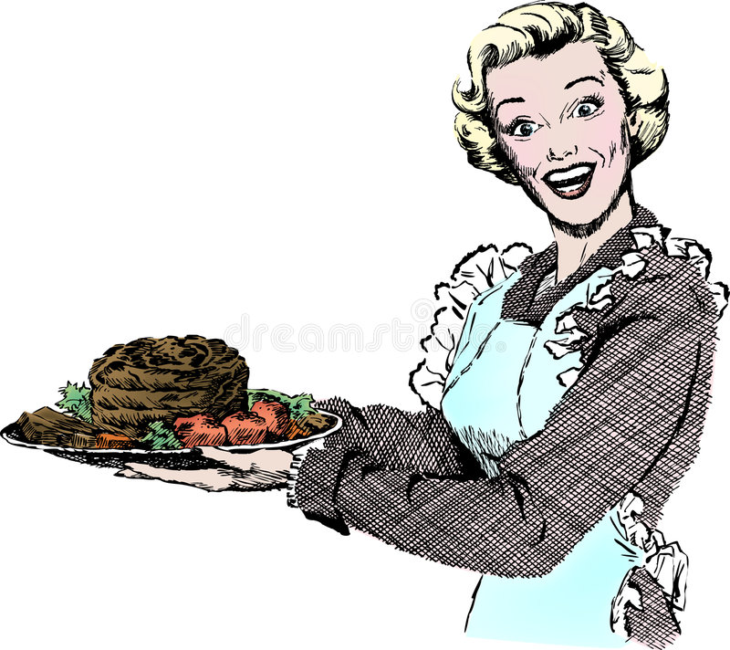 Vintage 1950s Woman Serving Dinner royalty free illustration