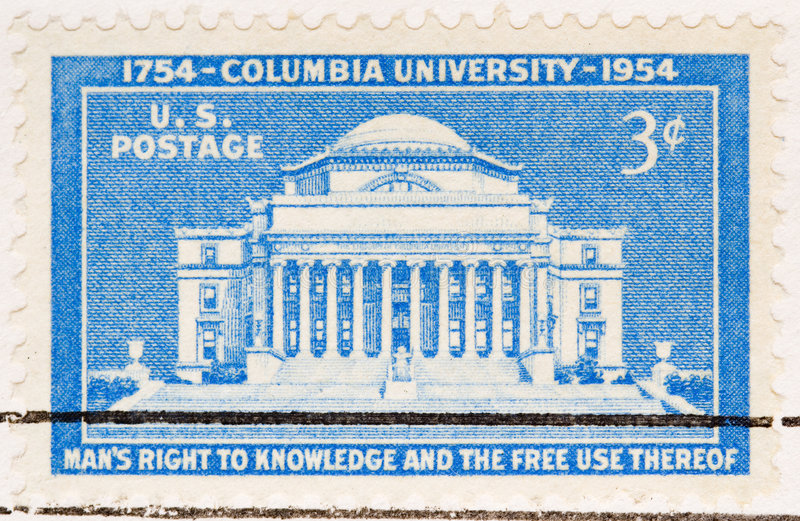 Vintage 1954 US Postage Stamp Columbia University royalty free stock photo
