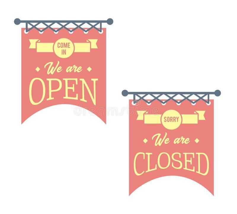 Vintage abierto y muestras cerradas del negocio Banderas rojas ilustración del vector