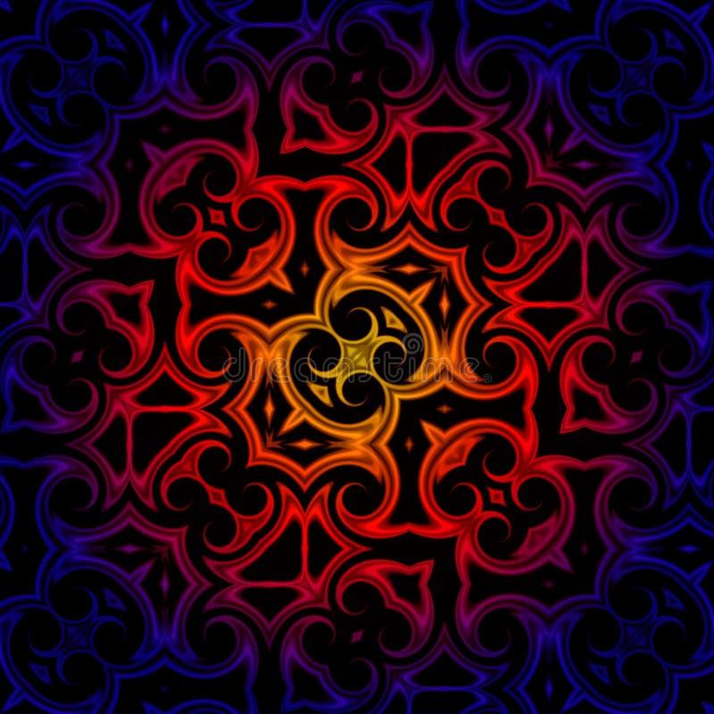 Vintage blue red yellow oriental kaleidoscope background royalty free illustration