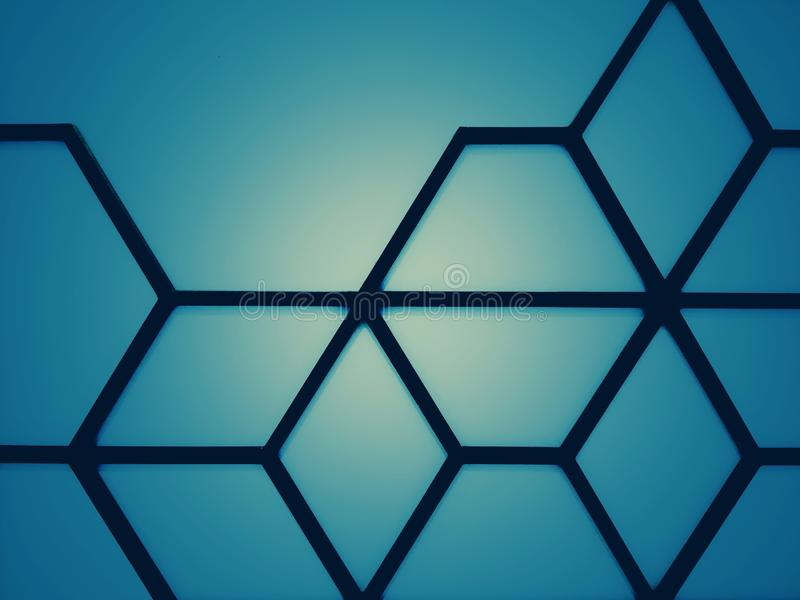 Vintage and abstract and blue with contrasting black lines stock photos