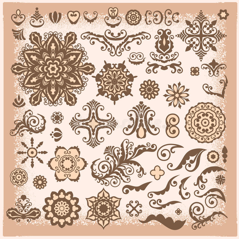 Vintage Abstract Floral Illustration Design Elements for greetin. G card, invitation, menu vector illustration