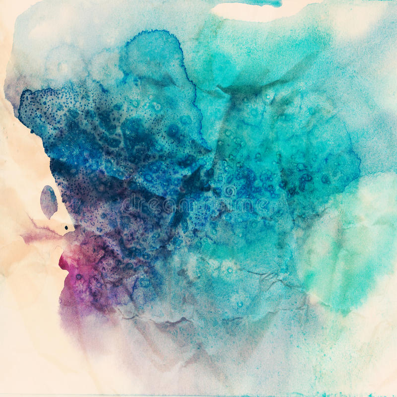 Free Vintage Abstract Hand Drawn Watercolor Background, Raster Illustration, Stain Watercolors Colors Wet On Wet Paper Royalty Free Stock Photography - 39461127