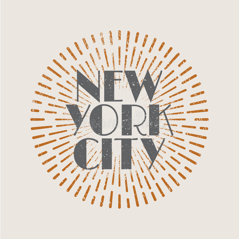 Vintage abstract label with sunburst and title New York City. royalty free illustration