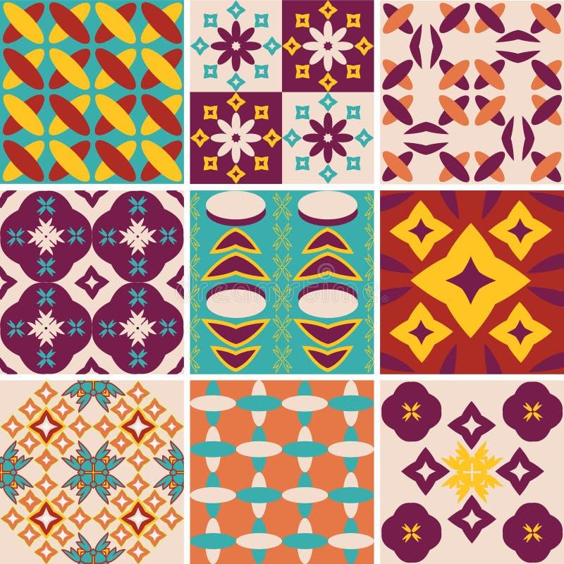 Vintage abstract pattern set. Set of retro-style pattern vintage geometric background vector illustration