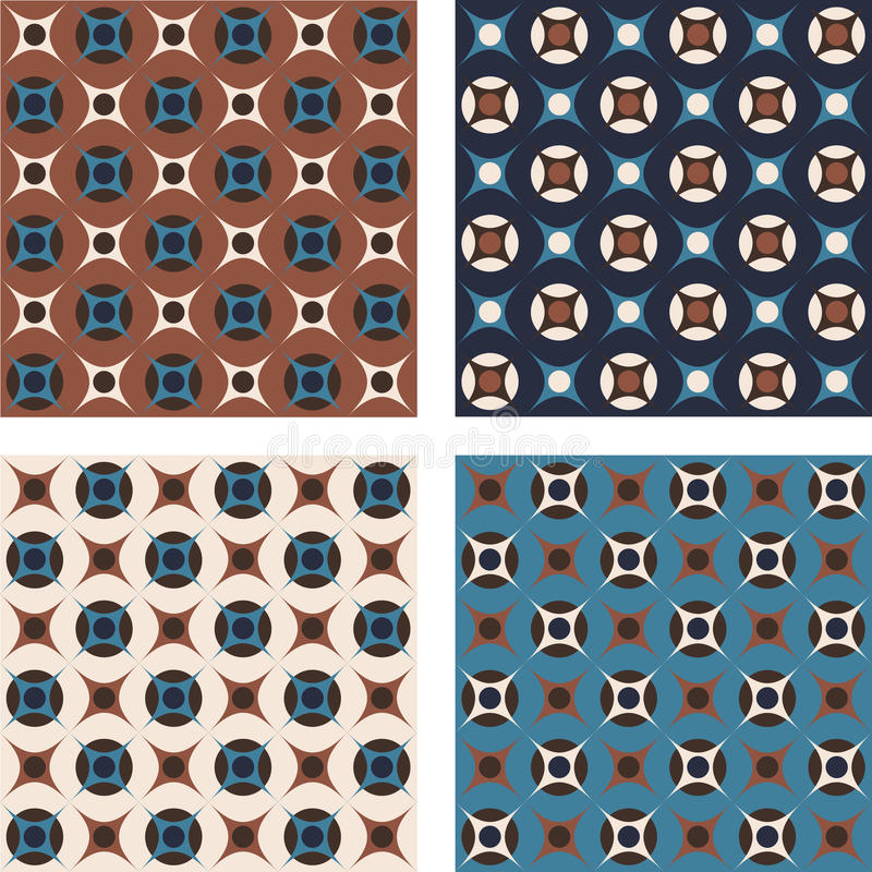 Vintage abstract seamless patterns, set of four royalty free illustration