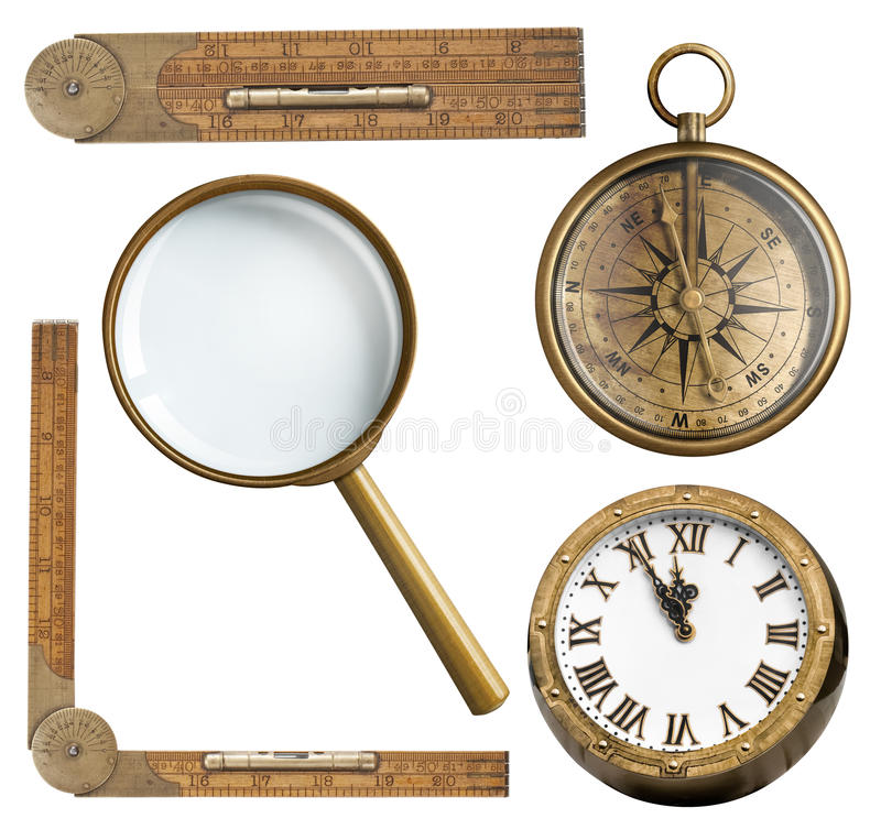 Vintage accessories set. Clock, magnifying glass stock photo