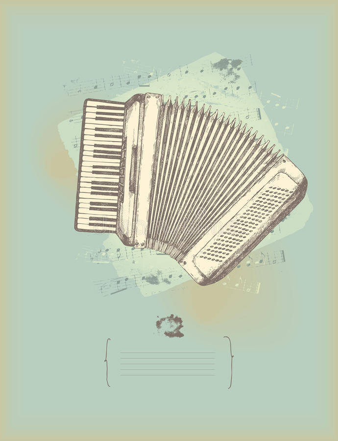 Vintage accordion. Music theme drawing stock illustration