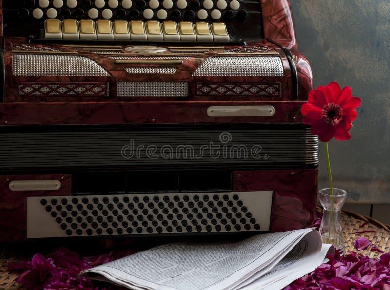 Vintage accordion keys stock image