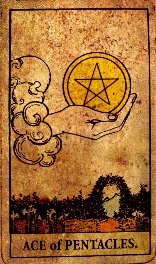 Vintage Ace dos investimentos do dinheiro do cartão de tarô dos Pentacles que salvar a prosperidade da abundância ilustração stock