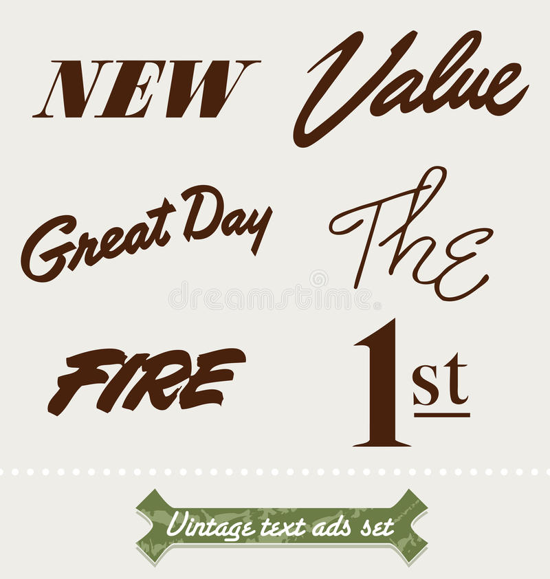 Download Vintage ad text stock vector. Illustration of first, board - 23746714