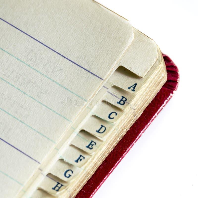 Vintage Address Book Index Cloup stock afbeeldingen