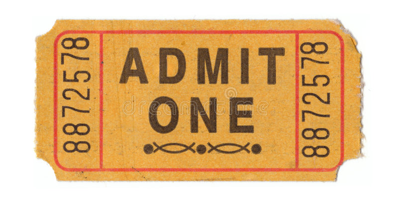 Vintage admission ticket stock image