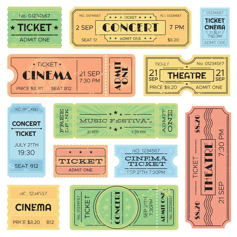 Vintage admitted cinema, music festival pass, train ticket. Isolated amusement admission tickets vector set stock illustration