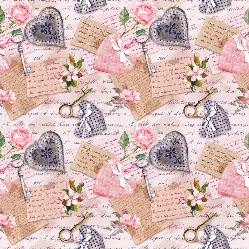 Vintage aged paper, flowers, hand written letters, keys, roses, pink textile hearts. Seamless background royalty free illustration