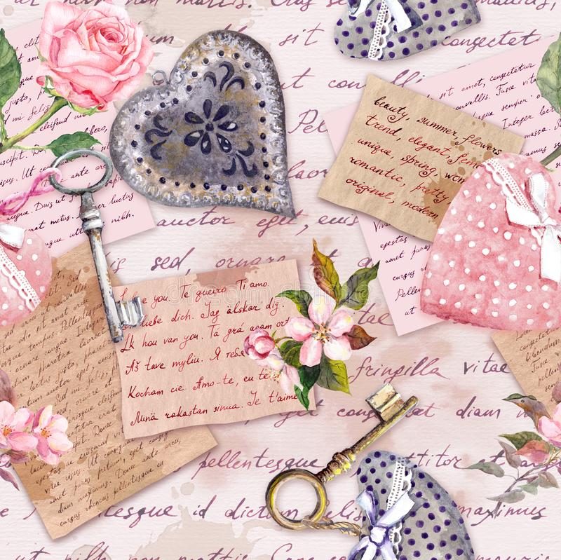 Vintage aged paper, flowers, hand written letters, keys, roses, pink textile hearts. Seamless background. Vintage aged paper with flowers, hand written letters royalty free stock photography