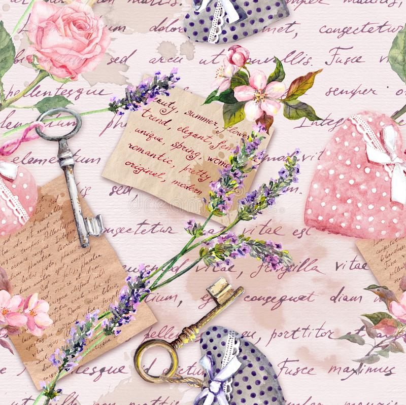 Vintage aged paper with lavender flowers, hand written letters, keys, roses, pink textile hearts. Seamless background. Vintage aged paper with lavender flowers stock illustration