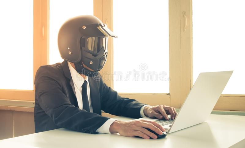 Vintage AI Artificial Intelligence Businessman Concept Click Mouse and Typing Laptop stock photos