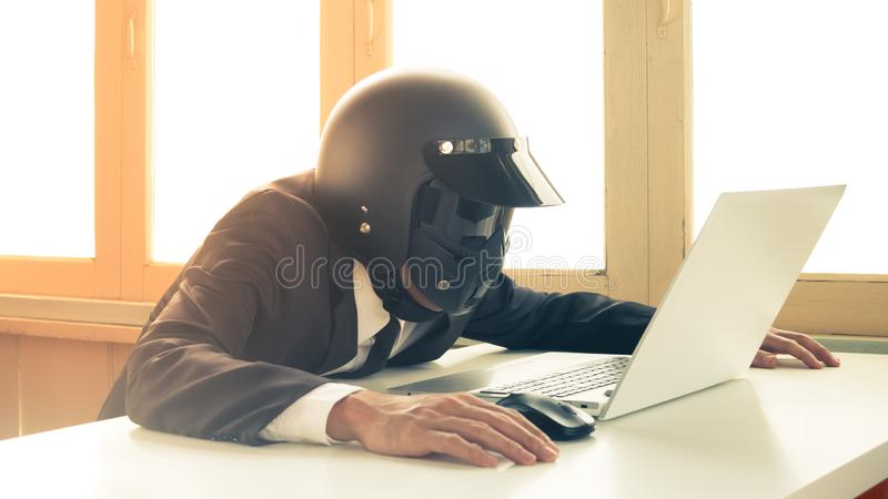 Vintage AI Artificial Intelligence Businessman Concept Searching or Scan System Problem 2 royalty free stock photos