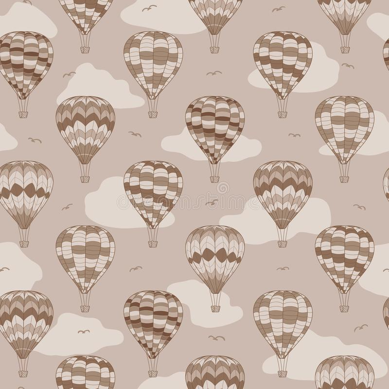 Vintage air balloons vector travel repeat pattern stock illustration