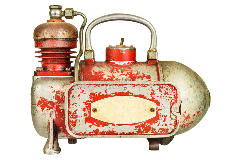 Vintage air compressor isolated on white stock photography