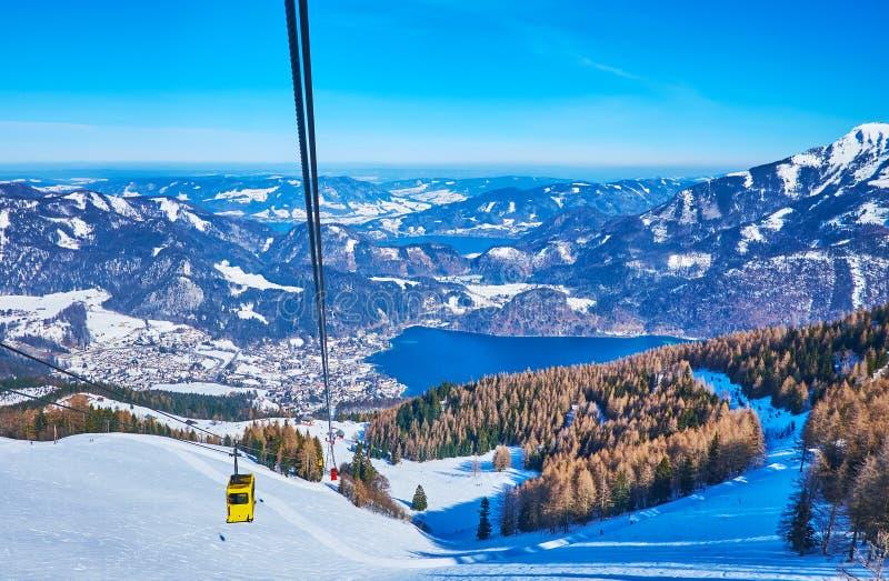 The vintage air lift of Zwolferhorn, St Gilgen, Salzkammergut, Austria royalty free stock photography