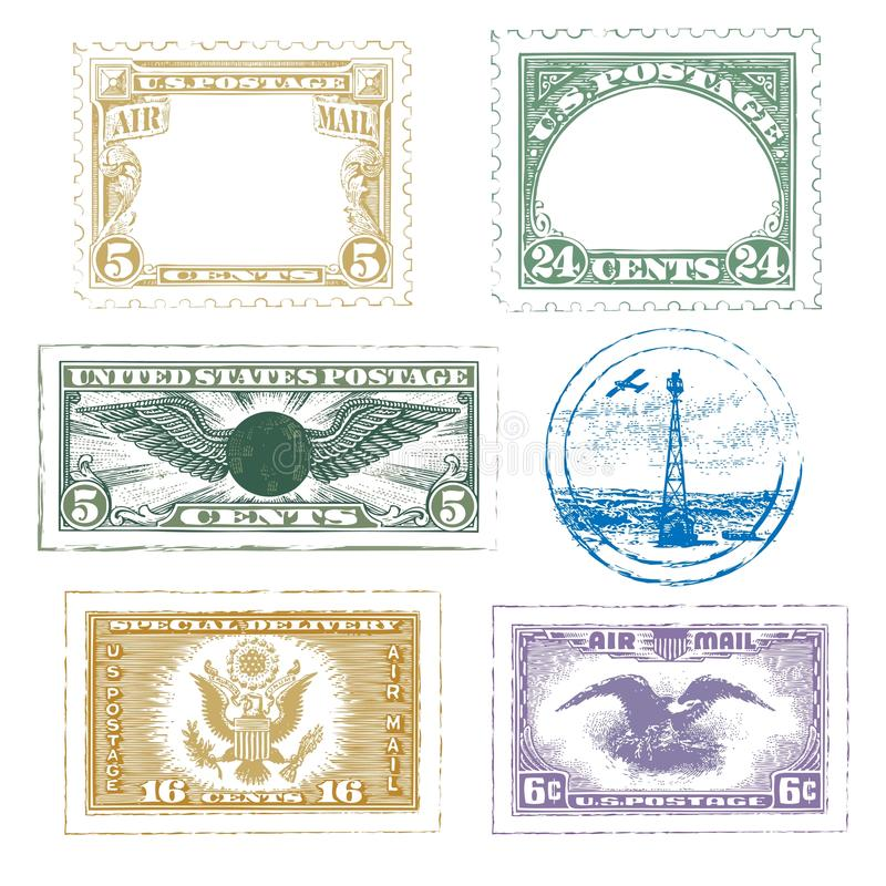 Vintage Air Mail Stamps Icon Set vector illustration