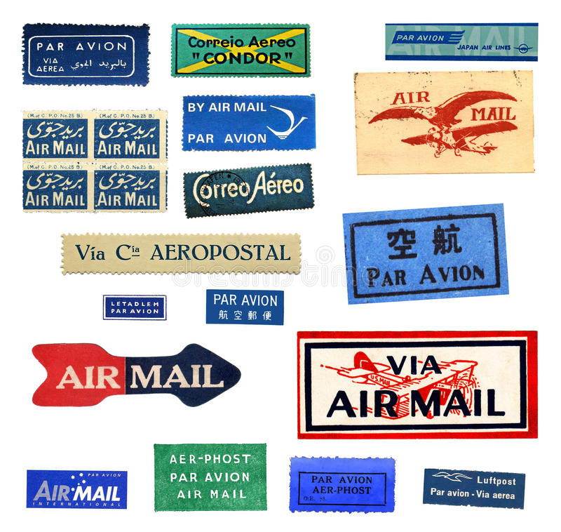 Vintage airmail labels. From all over the world royalty free stock photo