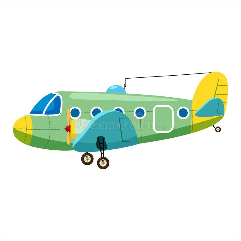 Vintage airplane cargo monoplane cartoon retro green colour. Vector isolated cartoon style. Vintage airplane cargo monoplane cartoon retro cargo colour vector illustration