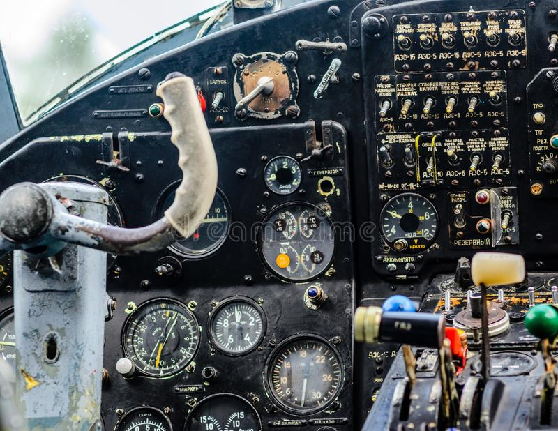 Vintage airplane cockpit interior stock images