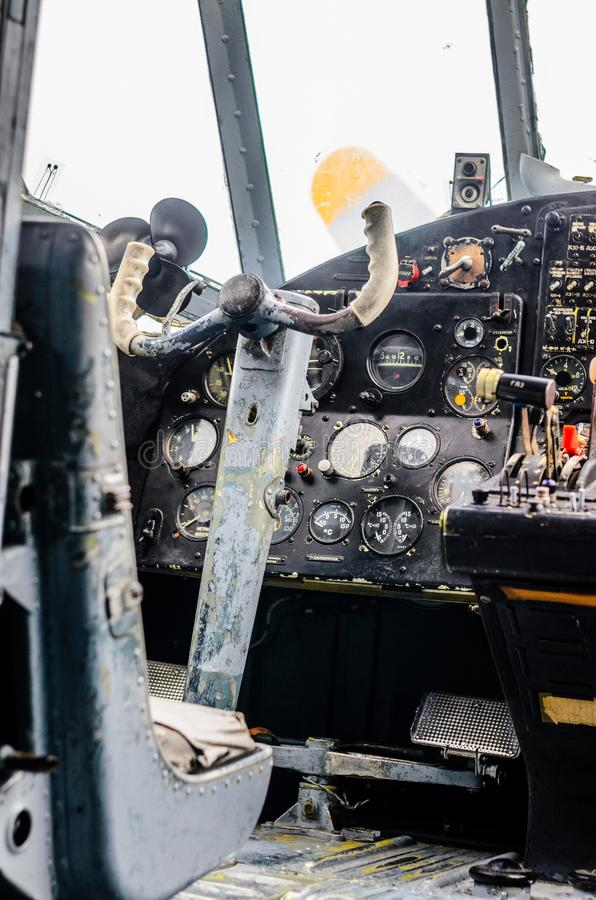 Vintage airplane cockpit interior royalty free stock image