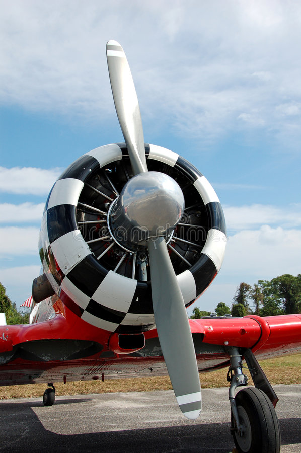 Vintage airplane propeller stock photo