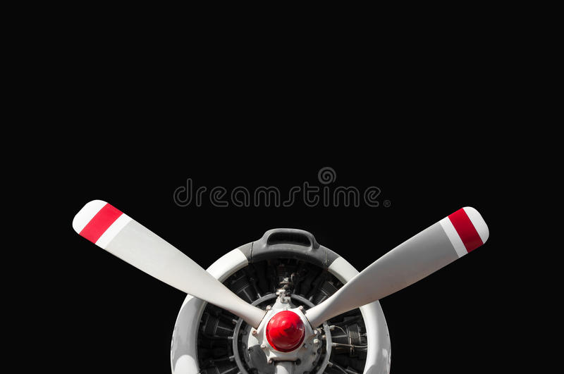 Vintage airplane propeller with radial engine stock image