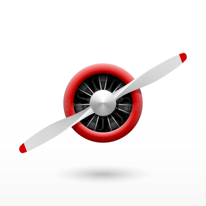 Vintage airplane propeller with radial engine stock illustration