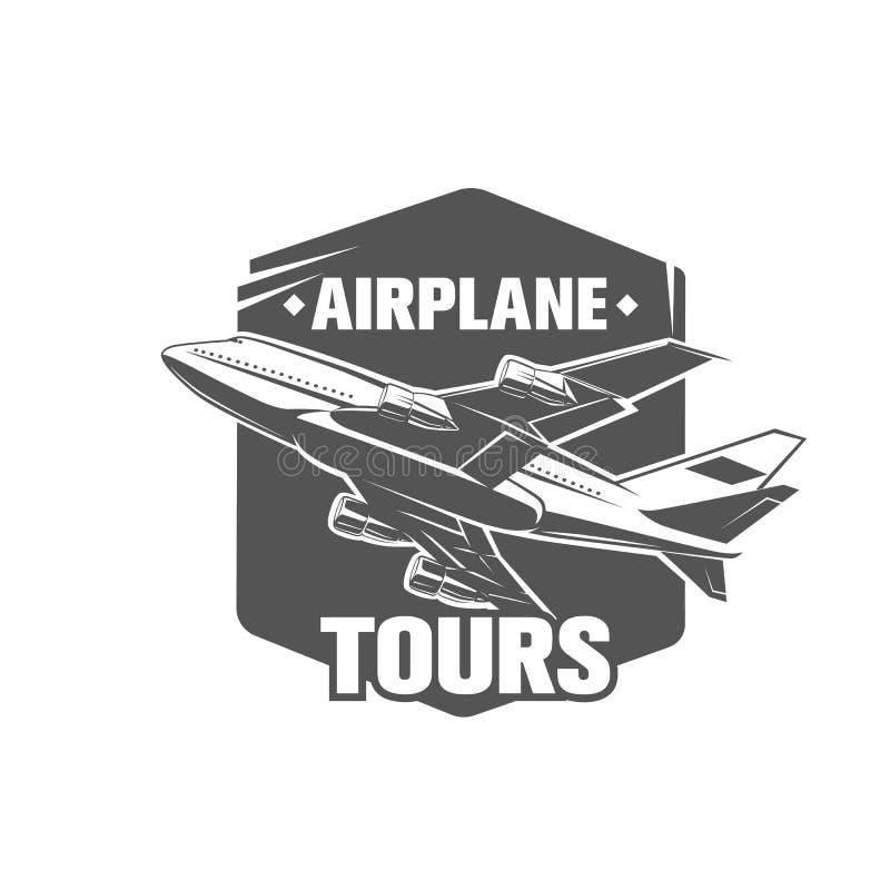 Vintage Airplane Symbol Illustration Aviation Stamp Stock