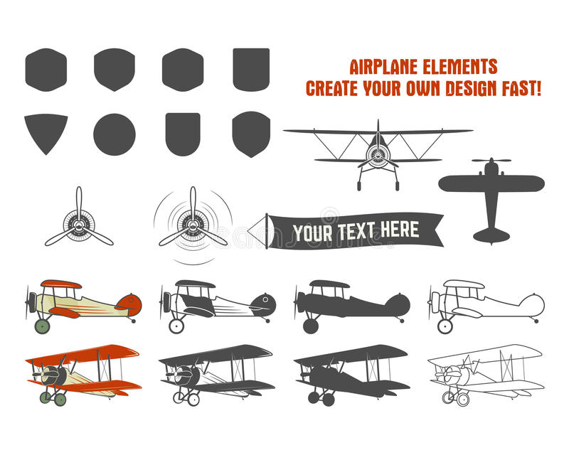 Vintage airplane symbols. Biplane graphic labels. Retro Plane badges, design elements. Aviation stamps collection. Fly. Propeller, old icon, shield isolated on vector illustration