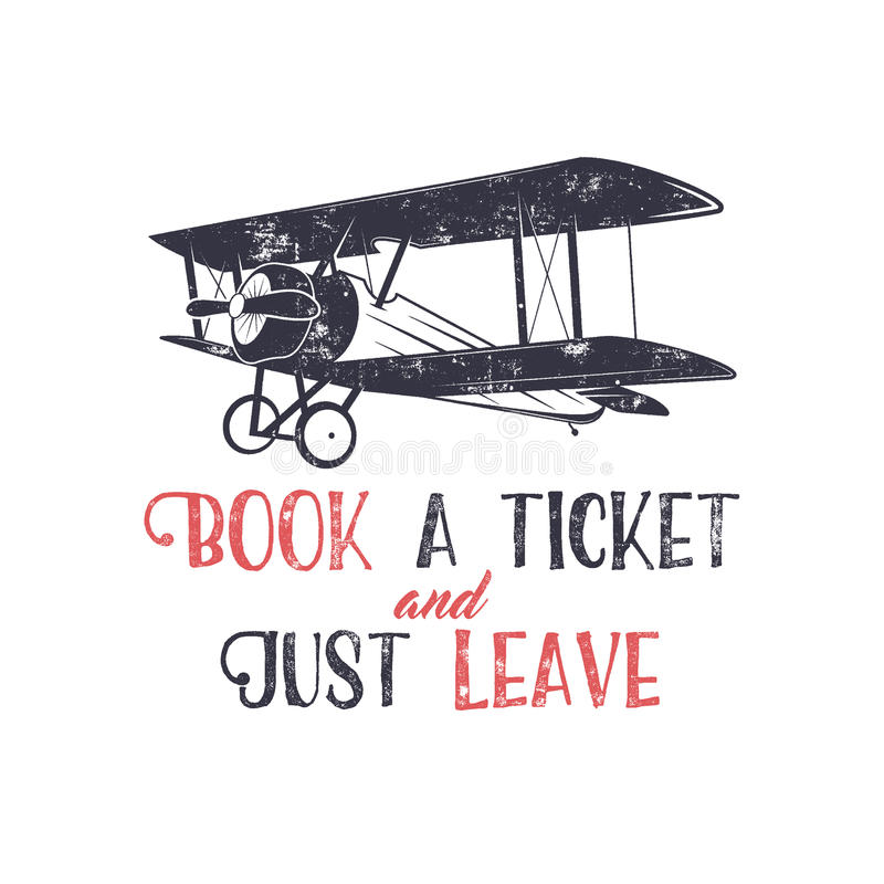 Vintage Airplane Typography Poster Lettering And Old Biplane Symbol