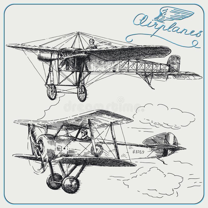 Vintage airplanes. Hand drawn collection royalty free illustration