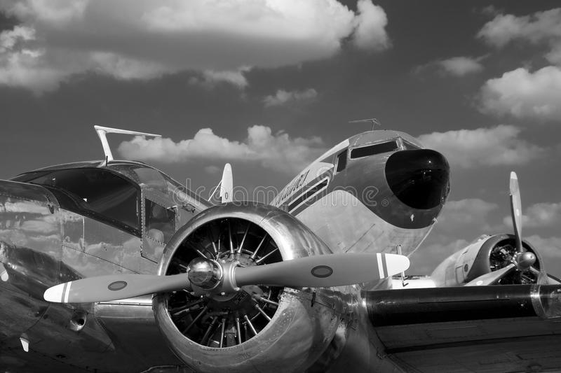 Vintage airplanes in black and white stock photography