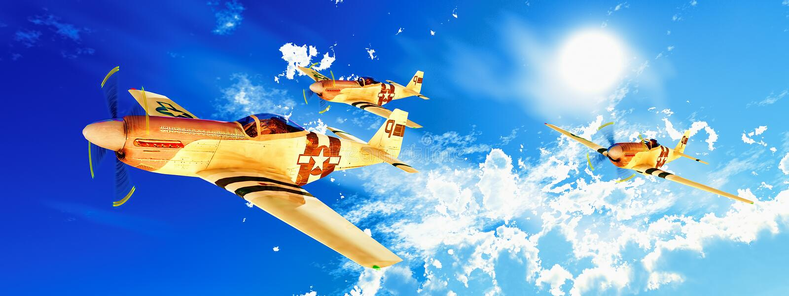 Vintage airplanes on mission vector illustration
