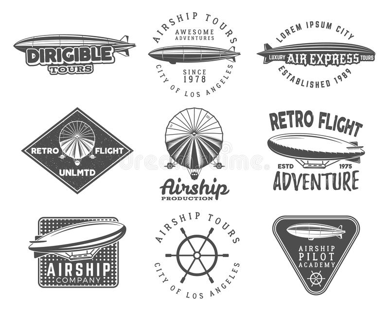 Vintage airship logo designs set. Retro Dirigible badges collection. Airplane Label vector design. Old sketching style stock illustration