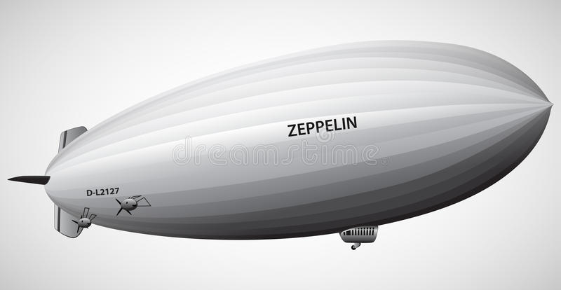 Vintage Airship Zeppelin Dirigible balloon Vector illustration stock photo