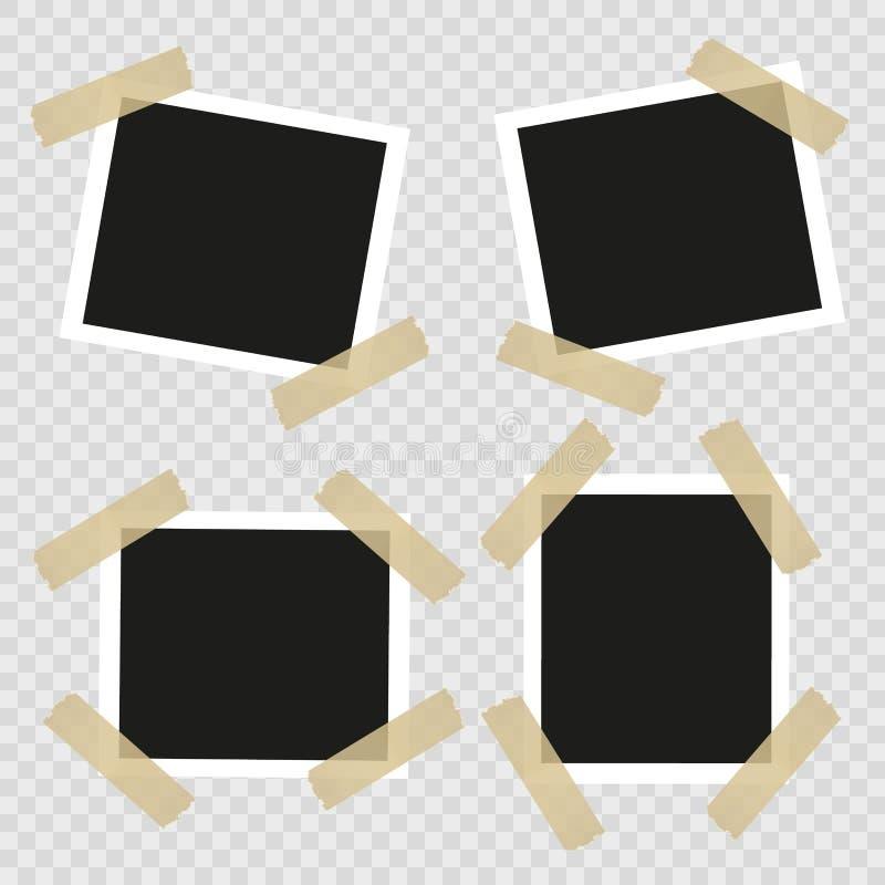 Vintage ajustado, quadros retros da foto com fita adesiva Estilo do vintage Elementos do projeto do vetor isolados no fundo trans ilustração do vetor